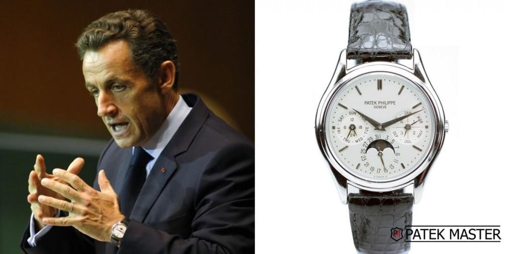 L'ex presidente francese Nicolas Sarkozy con un Patek Philippe 3940