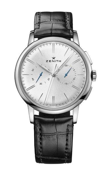 Classic Acciaio inossidabile Zenith Elite Chronograph Cinturino in pelle Orologi Replica