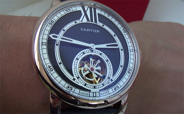 Replica Orologi Cartier Rotonde Flying Tourbillon Quadrante nero