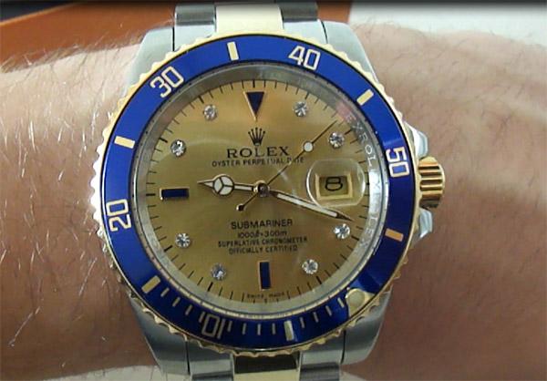 Lusso Replica Rolex Submariner Champagne Diamanti Quadrante Orologio