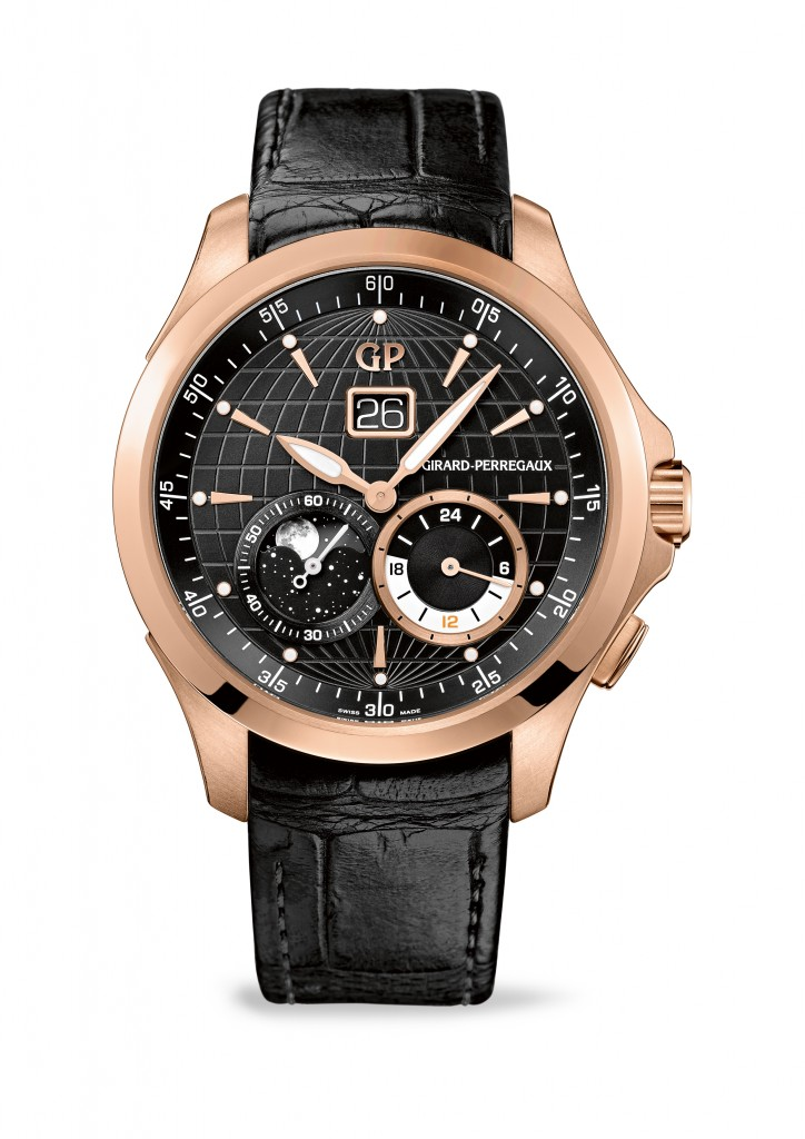 Oro rosa Girard-Perregaux Traveller Large Date, Moon Phases & GMT Orologi Repliche